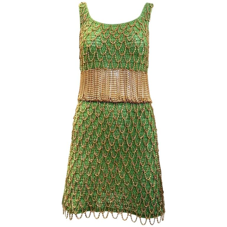 1970s Loris Azzaro gold and green knit chain dress For Sale