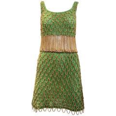 1970s Loris Azzaro gold and green knit chain dress