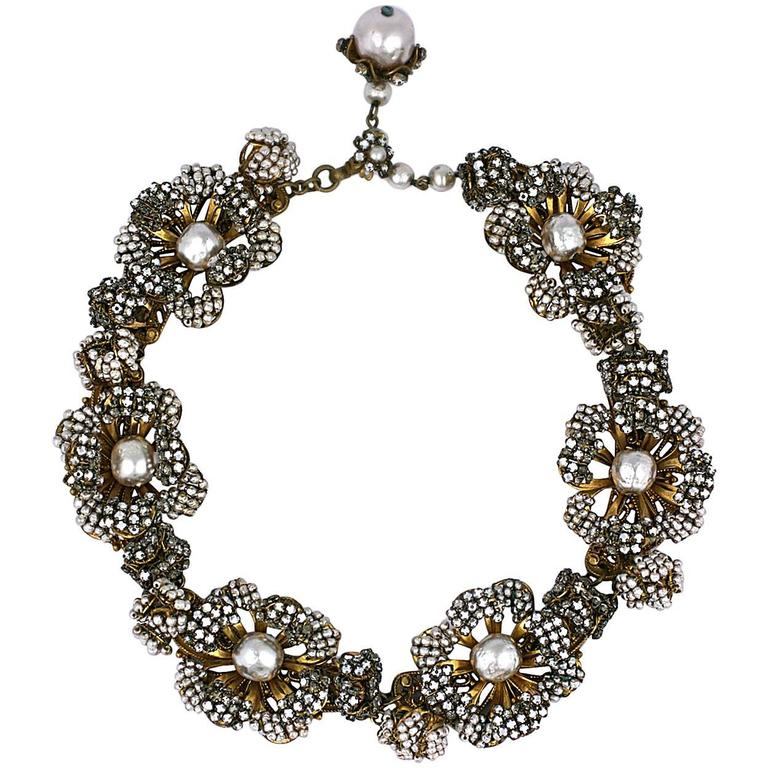 Miriam Haskell Massive Rose Monte and Faux Pearl Flower Collar For Sale