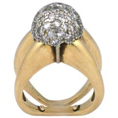 Pave Diamond Ball Ring, 1960s