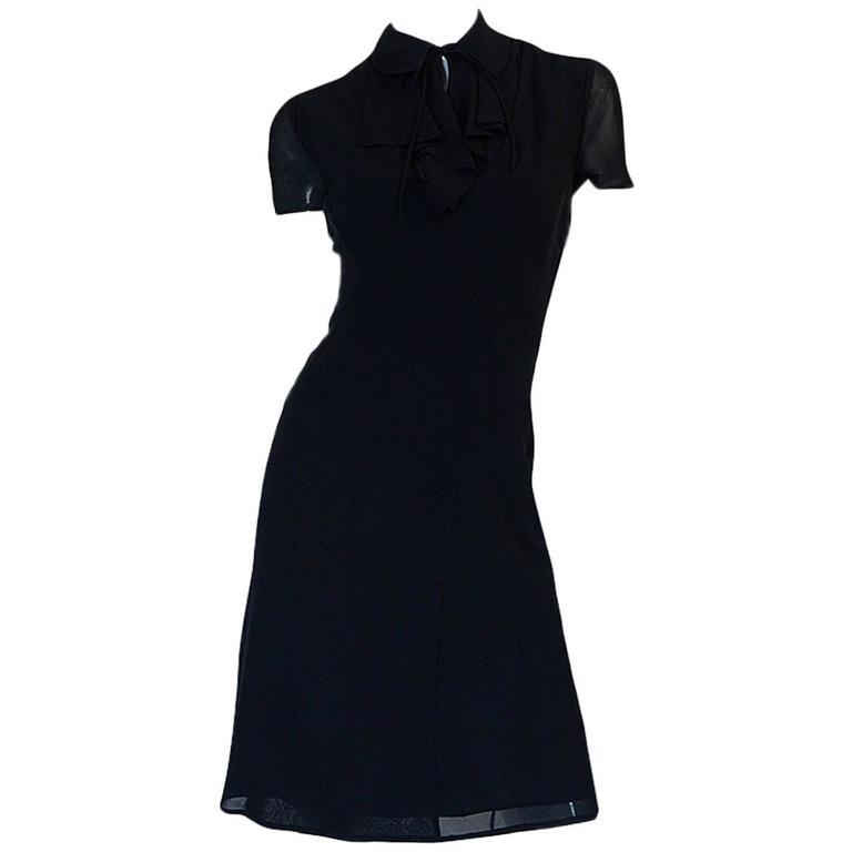 c1968 Guy Laroche Haute Couture Navy Silk Dress Ensemble