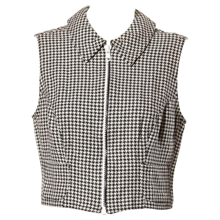 Gianni Versace Vintage 1990s 90s Black + White Houndstooth Sporty Vest Jacket For Sale