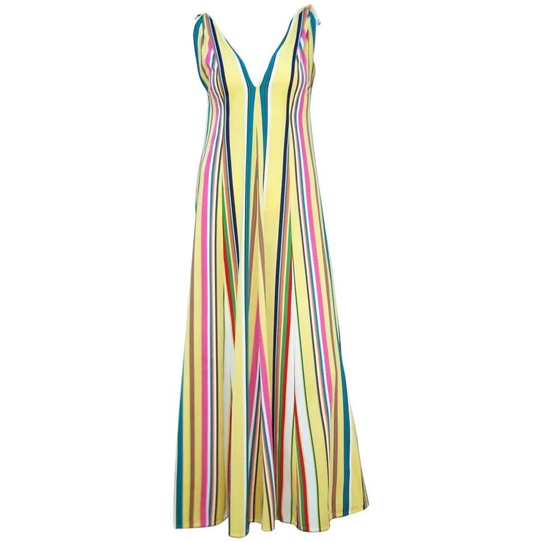 Vibrantly Striped 1970's Clovis Ruffin Jersey Knit Lounger Dress For Sale