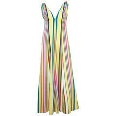Vibrantly Striped 1970's Clovis Ruffin Jersey Knit Lounger Dress