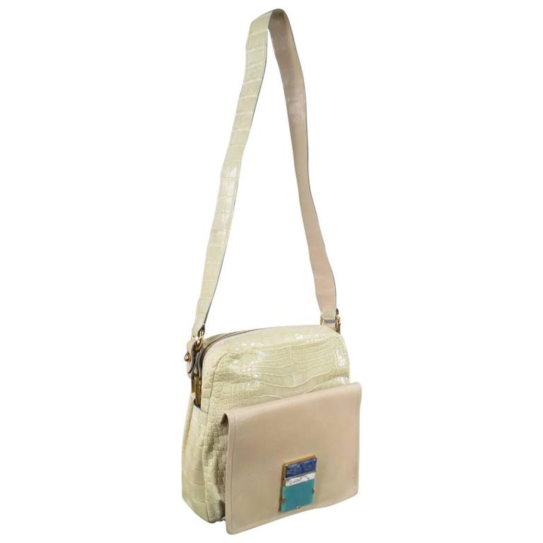 MARC JACOBS Pastel Mint Green & Tan Crocodile Embossed Leather Stone Crossbody