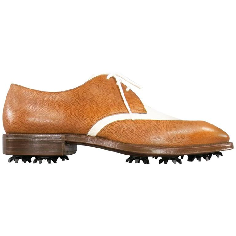GRAVATI Size 8.5 Tan & White Leather Two Tone Lace Up Golf Shoes For Sale