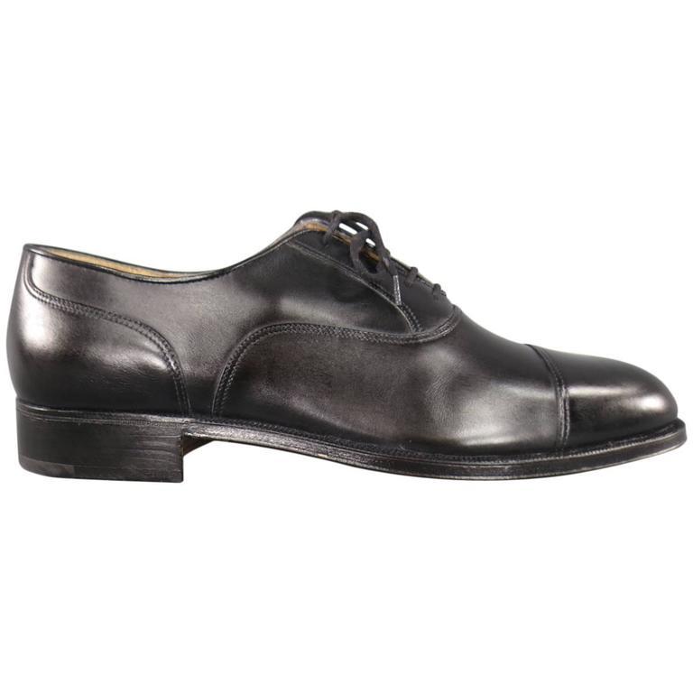gravati size 8 5 black leather cap toe lace up dress shoes