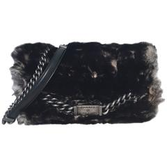 RARE Chanel Chinchilla Fur Classic Flap Shoulder Bag