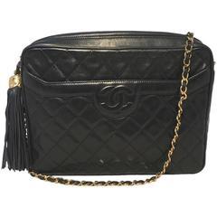 Beautiful Chanel Black Quilted Leather Tassel Shoulder Bag