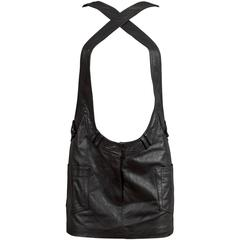 Alexander Wang black leather pinafore mini dress, C. 2010
