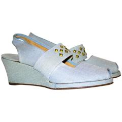 40s Light Blue Canvas Wedges