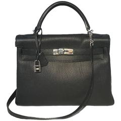 GORGEOUS Hermes Black Togo Leather 32cm Kelly Bag