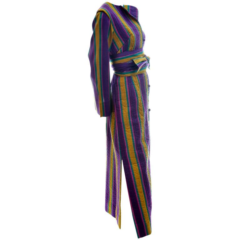 1970s Bohemian Vintage Striped Silk Hostess Caftan from Saks Fifth Avenue