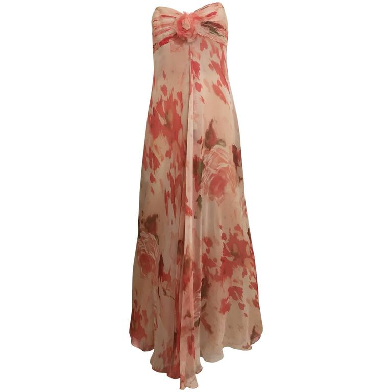 1990s Bill Blass Peach Water Color Floral Print Strapless Flowy Silk Dress