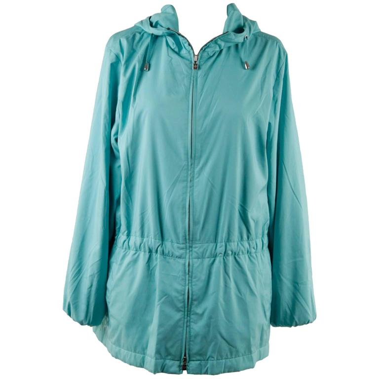 LORO PIANA Turquoise LIGHT WEIGHT PADDED JACKET cashmere lining Size 42 For Sale