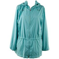 LORO PIANA Turquoise LIGHT WEIGHT PADDED JACKET cashmere lining Size 42