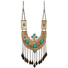 Vintage Alexis Kirk Massive Statement Turquoise Fringe Necklace