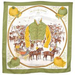 "RARE Hermes scarf ""On Epsom Downs"" 1970"