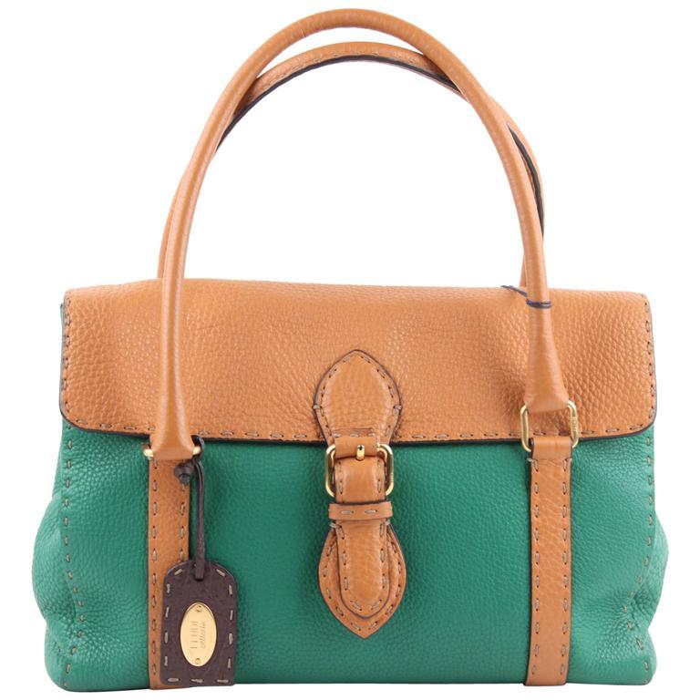 8db3a1b59d ... best fendi selleria green tan leather linda bag satchel handbag tote  for sale 57006 97f9e ...