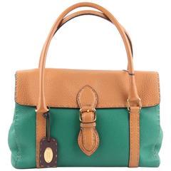 FENDI SELLERIA Green & Tan Leather LINDA BAG Satchel HANDBAG Tote