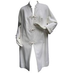 Crisp White Frog Button Coat from Hong Kong c 1970