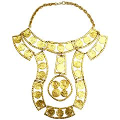 1970s Kenneth Jay Lane Oversized Coin Necklace