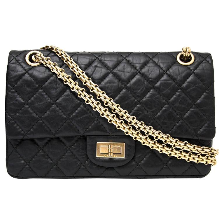 97759da5fd09 Chanel 2.55 Reissue 225 Double Flap Bag in Black at 1stdibs
