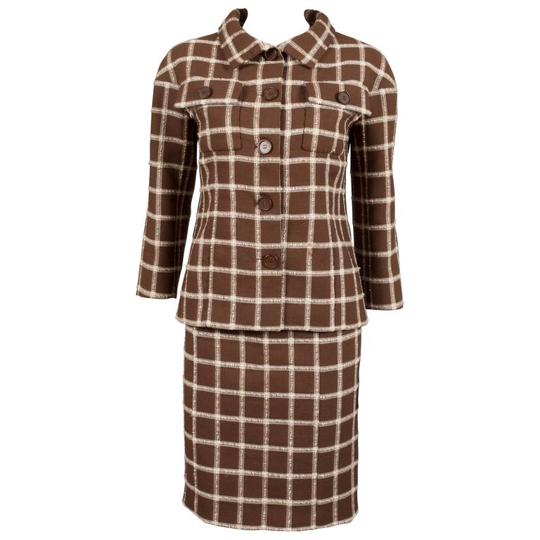 Balenciaga Eisa couture flecked brown and cream checked tweed suit, C. 1965