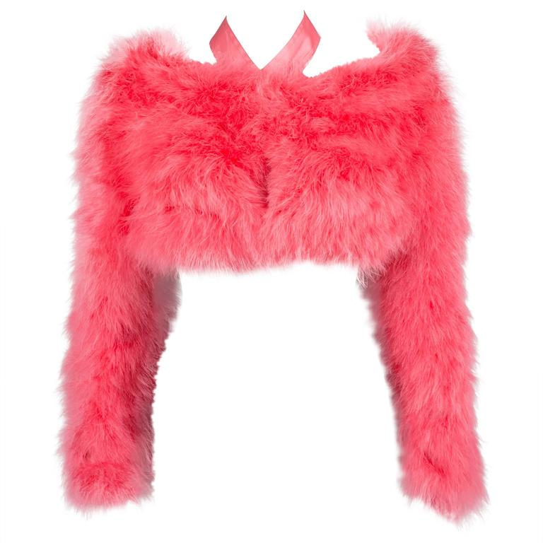 Gucci by Tom Ford hot pink marabou evening bolero jacket, C. 2004 For Sale