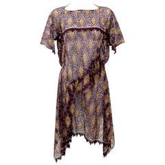 Junya Watanabe Comme des Garcons Burgundy Purple Gold Lace Kimono Sleeve Dress