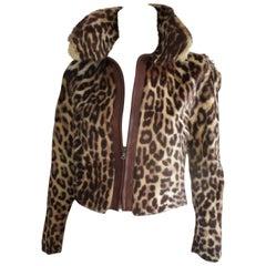 Leopard printed fur vintage jacket