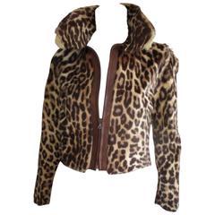 Leopard printed fur vintage jacket size small