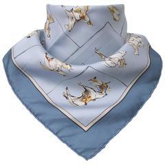 Hermes Silk Scarf Pocket Square Voyage Au Niger Blue 42 cm