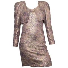 Carolina Herrera Metallic Evening Cocktail Dress & Jacket Size 6.