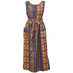 Fun 1960's Design House Paisley Pinafore Apron Dress Made in Japan