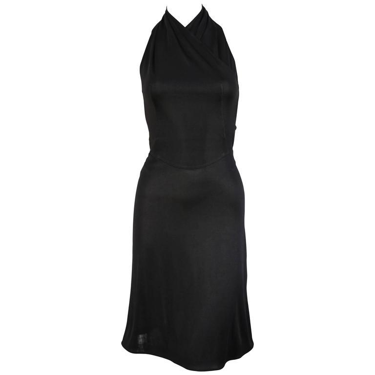 1990's AZZEDINE ALAIA black halter dress For Sale