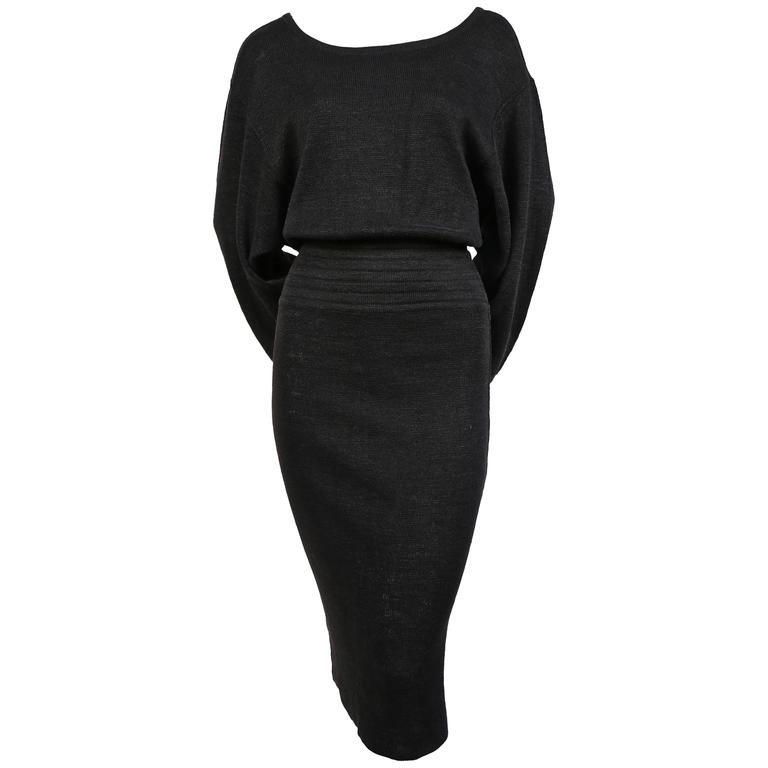 1980's AZZEDINE ALAIA black linen knit dress with cut out back