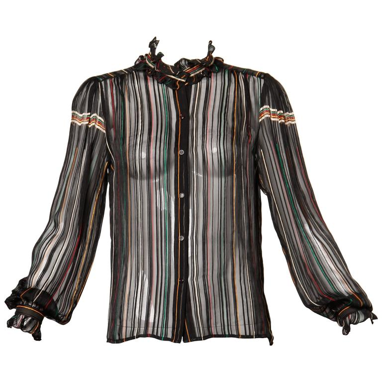 fbd7a06df9d2cf 1970s Vintage Paper Thin Sheer Striped Silk Chiffon Button Up Blouse Top  For Sale