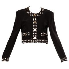 Moschino Vintage 90s Black + White Polka Dot Jacket with Gold Buttons