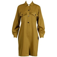 Genny by Versace Vintage Olive Green Wool Shirt Dress, 1990s