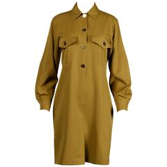 Genny by Vesace Vintage 1990s Olive Green Wool Shirt Dress