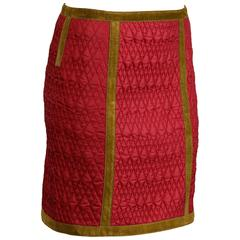 Alberta Ferretti Vintage Quilted Skirt with Olive Green Suede Leather Trim