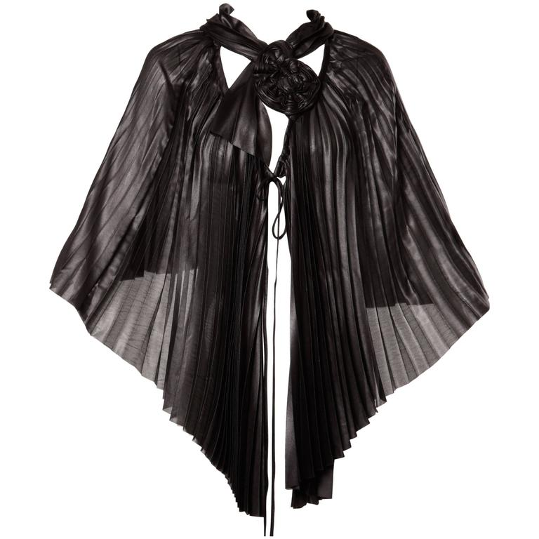 Issey Miyake Vintage Avant Garde Pleated Origami Black Cape Jacket or Tunic For Sale