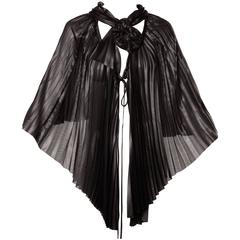 Issey Miyake Vintage Avant Garde Pleated Origami Black Cape Jacket or Tunic