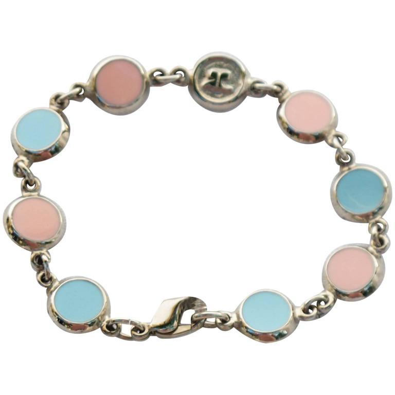 Courreges Bracelet Vintage Rare 70s Space Age Silvertone Pastel Enamel 1