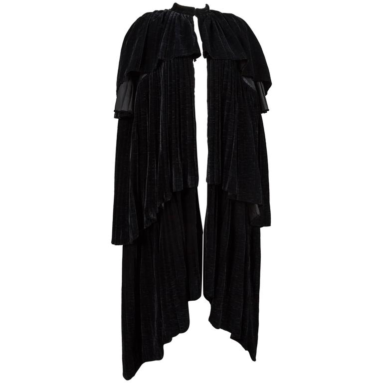 Thea Porter Pleated Black Silk-Velvet Tiered Evening Cape Coat, C. 1970 1