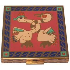 C.1950 Exotic Zell Mirrored Powder Compact With Enamel Decoration
