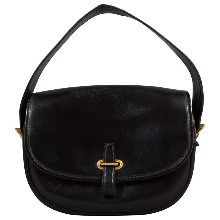 Hermes Black Box Leather Balle de Golf Flap Bag With Gold Hardware, c. 1972