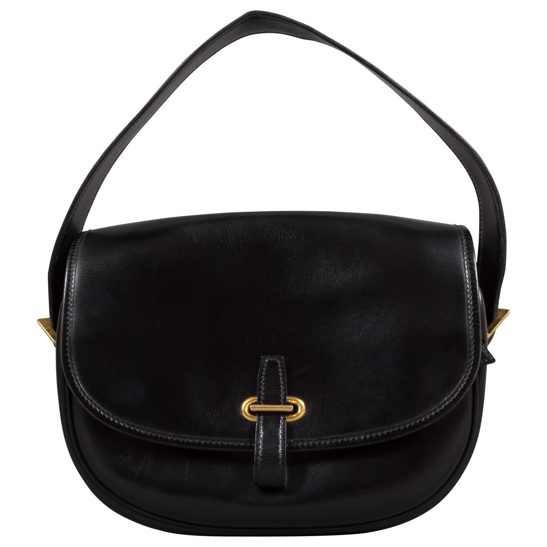 hermes black box leather balle de golf flap bag with gold. Black Bedroom Furniture Sets. Home Design Ideas