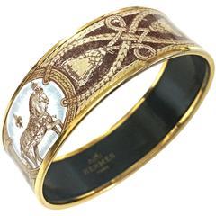 Vintage Hermes cloisonne enamel horse and tassel, fringe design bangle. Bracelet